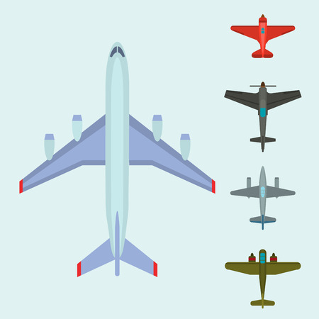 A Vector airplane illustration top view and aircraft transportation travel way design journey object.