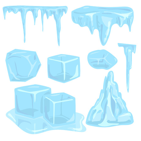 Ice caps snowdrifts icicles elements arctic snowy cold water winter decor vector illustration. Stock Illustratie