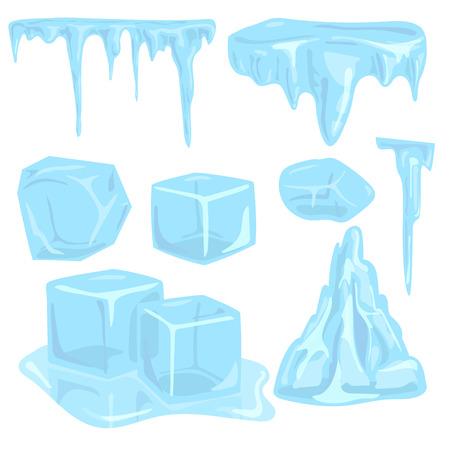 Los casquetes de hielo ventisqueros elementos de los carámbanos de los elementos de los carámbanos del ártico nevoso del ejemplo de la decoración del invierno del agua fría