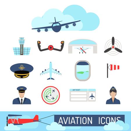 Aviation icons set airline station airport symbols departure terminal plane stewardess tourism vector illustration Stock Vector - 87380222