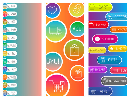 Colorful website web e-shop buttons design vector illustration glossy graphic label internet confirm template banner. Rounded blank menu reflection business navigation download interface.