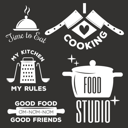Bakery shop logos, badges and labels design elements set. Bread cake cafe vintage style classic kitchen retro vector. Cooking logo shop restaurant stamp typography. Stock Vector - 87380232