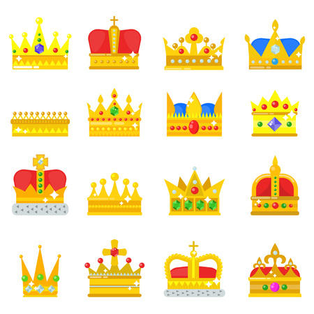 Gold crown king icons set nobility collection vintage jewelry sign vector illustration Illustration