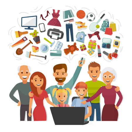 Family with credit card shopping online happy people characters computer buying internet purchase vector illustration.