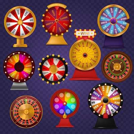 Spinning fortuin wiel gelukkige roulette casino gok loterij spel winnaar kans spin gokautomaat vectorillustratie.