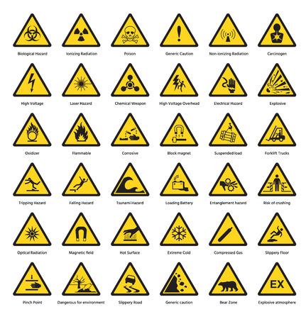 De reeks van van de het huidaandoening van de driehoeks geel waarschuwingsbord van de aandachtssymbolen chemische brandbare de voorzichtigheidspictogram vectorillustratie van de veiligheidsstraling.