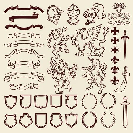 Heraldische ontwerp vintage retro schild clipart Koninklijke borst elementen middeleeuwse ridder sieraad vectorillustratie.