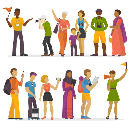 People family traveling on vacation traveler characters happy trip journey couple vector illustration.