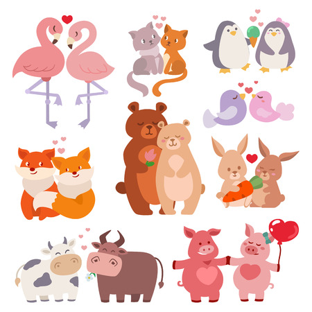 happy family: Cute animals couples in love collection happy valentines day loving cartoon characters together nature wildlife vector illustration. Illustration