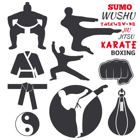 Ensemble d'étiquettes d'emblèmes de club de combat cool combattre badges punch sport poing karaté vector illustration. Banque d'images - 87380254