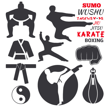 Set van cool fighting club emblemen labels vechten badges punch sport vuist karate vector illustratie.