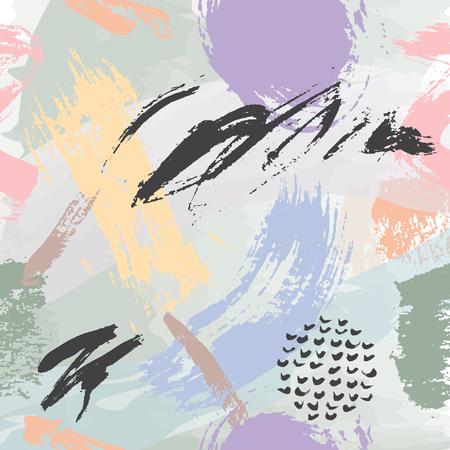 普遍的なメンフィスの手には、シームレスなパターン ベクトル図が描かれました。