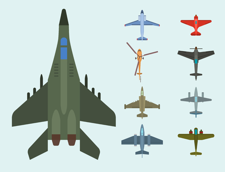 A Vector airplane illustration top view and aircraft transportation travel illustration.