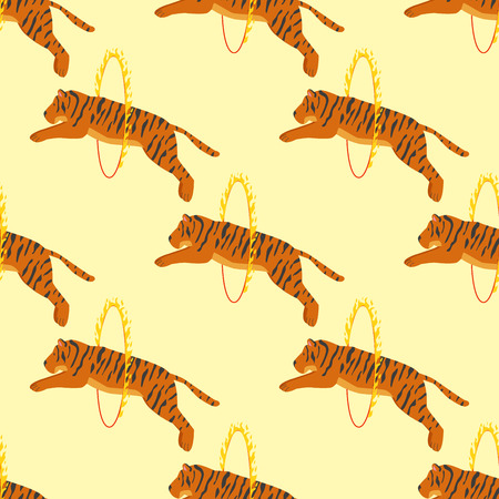 Tiger action wildlife animal danger circus seamless pattern.