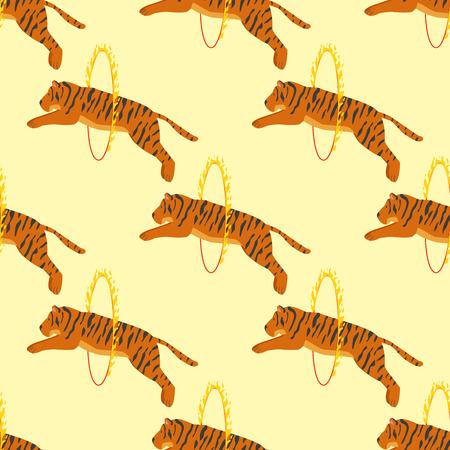 tigress: Tiger action wildlife animal danger circus seamless pattern.