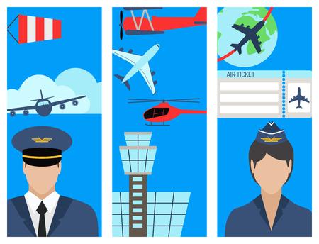 An aviation brochure set airline station airport symbols vector illustration. Illustration