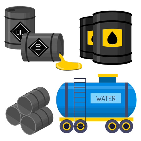 bowels: AN Oil drums container fuel cask storage rows steel vector illustration.