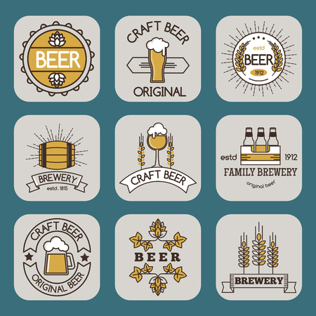 A Vintage craft beer retro badge design emblems vector icons.