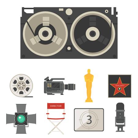 A Cinema movie making tv show tools equipment symbols icons. Illustration