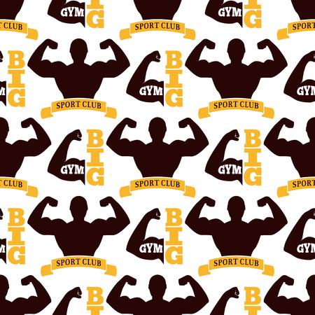 fitness equipment: A Fitness emblem design seamless pattern.