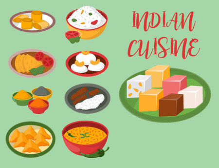 An Indian chicken jalfrezi with rice and vegetable  vector illustration. Çizim