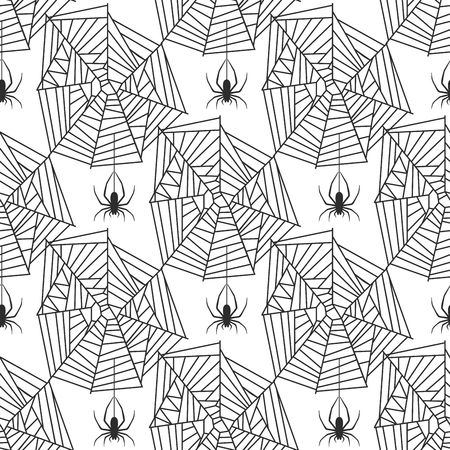 An Spider web silhouette arachnid fear graphic flat  seamless pattern.
