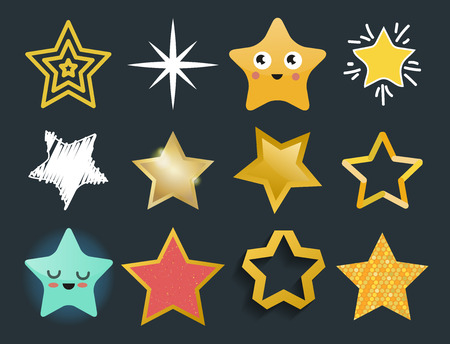 A Shiny star icons in different style vector illustration.