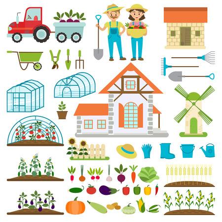 A Farmer family and farm icons vector illustration. Ilustração