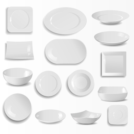 A Blank ceramic plates set realistic kitchen dishes template vector illustration.