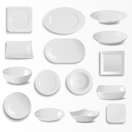 Een lege keramische platen instellen realistische keuken gerechten sjabloon vectorillustratie. Stock Illustratie