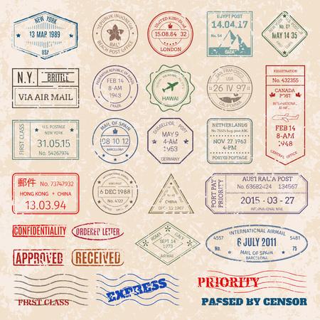 ベクトルは、世界図各国のヴィンテージ切手を設定します。