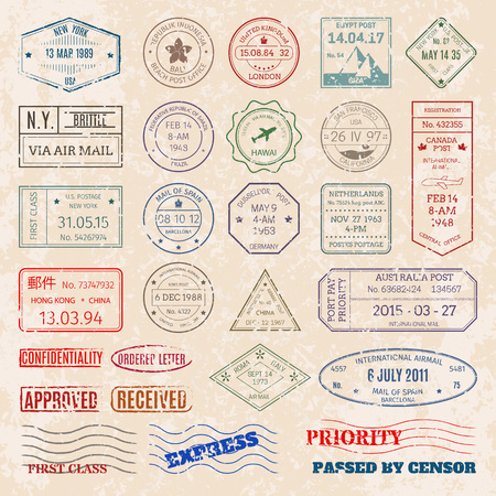A Vector set vintage postage stamps from countries all over world  illustration.