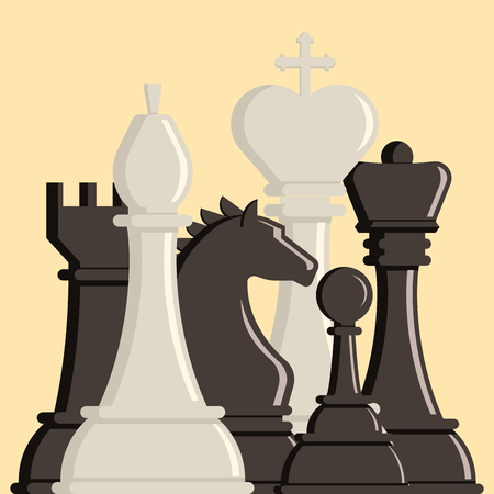 art piece: A Chess board and chessmen vector strategy play.