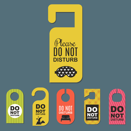 A Please do not disturb hotel door quiet motel service room illustration.