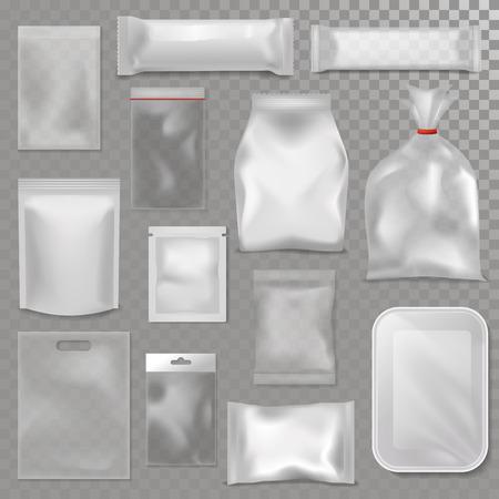 Pusta plastikowa torba pakunku egzaminu próbnego wektoru ilustracja Ilustracje wektorowe