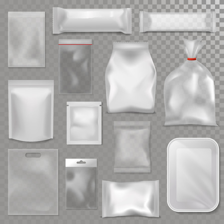 An empty plastic bag package mock-up vector illustration
