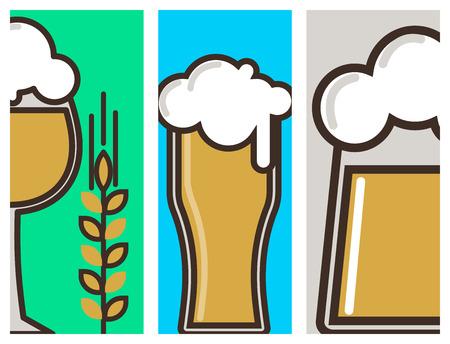Beer glass vector banner celebration refreshment brewery oktoberfest cards.