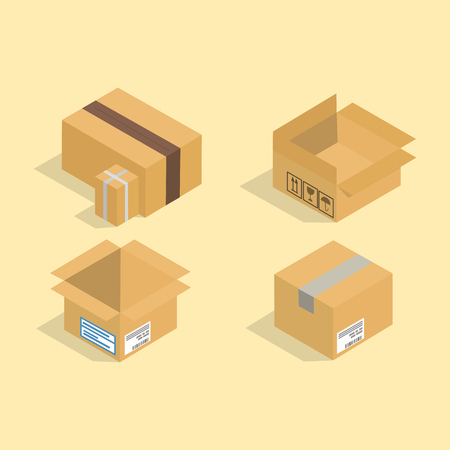 Different box vector isometric icons illustration. Illustration