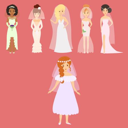 Group of wedding brides characters vector illustration. Ilustração