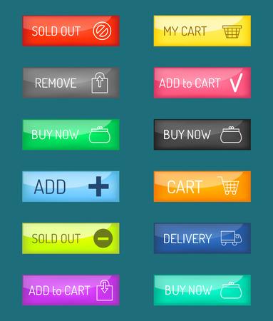 Colorful website web e-shop buttons design vector illustration. Illustration