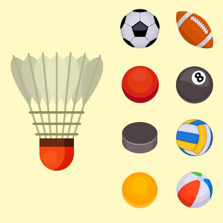 hockey goal: Set of balls isolated tournament win round basket soccer hobbies game equipment sphere vector illustration