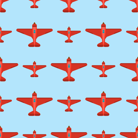 A Vector airplane seamless pattern aircraft design on a green background.