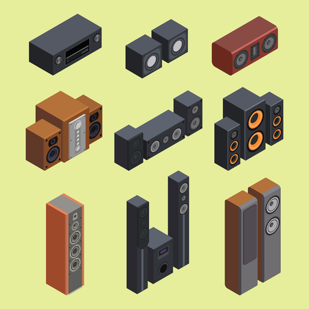 device: A group of stereo sound system  vector illustration.