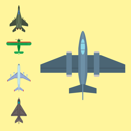 Vector airplane illustration top view. Illustration