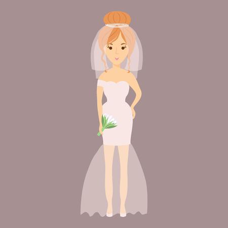 결혼식 신부 문자 벡터 일러스트 레이션