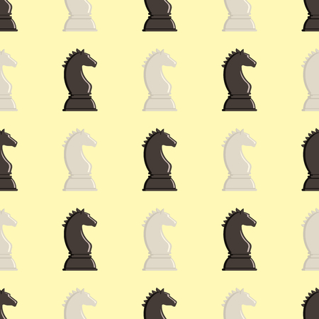 Chess board and chessmen vector seamless pattern Illustration