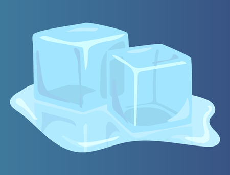 A melting two ice on a blue background.