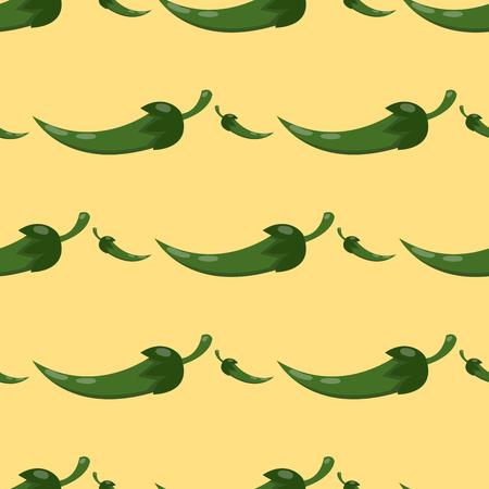 緑唐辛子健康な植物のシームレスなパターン。  イラスト・ベクター素材