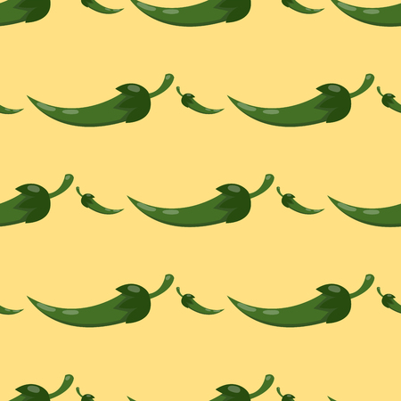 Green chili pepper healthy plant seamless pattern.