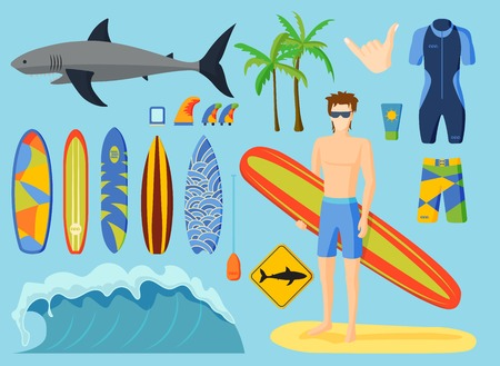 Surfing vector set on blue background.